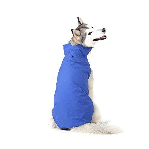 Bwiv Hundemantel Wasserdicht mit Leine Loch Bauch Schützen Welpe Haustier Weste Kleider Jacke Vlies Klettverschluss Leicht für Mittlere und Große Hunde Blau 5XL