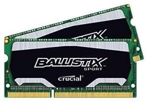 Crucial Ballistix Sport SODIMM 8GB Kit (4GBx2) DDR3 1600 MT/s (PC3-12800) CL9 @1.35V 204-Pin Memory BLS2K4G3N169ES4 Size: 8GB KIT (4GBx2), Fournitures de bureau