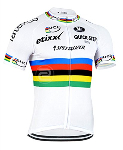 Strgao 2016 Herren Radtrikot Shirt Kurzarm Pro Team Quick Step MTB Radfahren Top Radshirt Atmungsaktiv Durchgehender Rei?verschluss (Bontrager Super)
