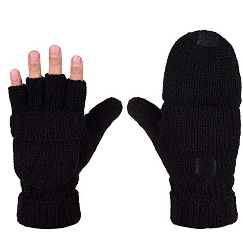 AOKAY Winter Handschuhe Fingerlose Fäustlinge Damen Fingerhandschuhe Fingerlos Handschuhe Strick Handschuhe mit Flip Top (Vintage-Schwarz)