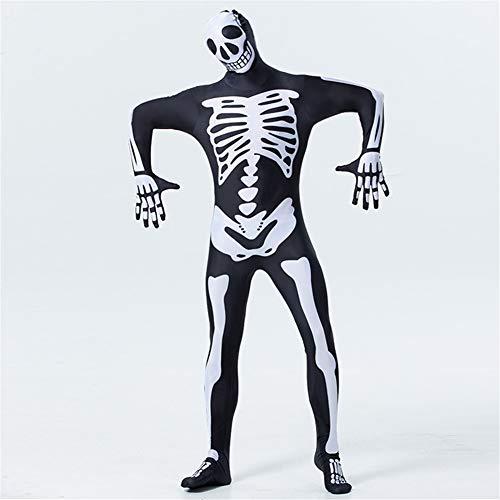 Für Skelett Erwachsene Zentai Kostüm - People-COS1 Unisex Zentai COS Horror Halloween Skelett Kostüm Ghost Festival Bodys Overalls Halloween Kostüm,L