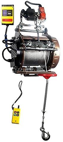 Warrior Industrie Hebezug Seilzug Kran Elektroseilwinde Hebezeug 800kg 230V nach EN 14492:2 inkl. Funkfernbedienung