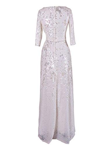 Dressystar robe de femme,Robe de bal/soirée,manches longues,à paillettes Blanc