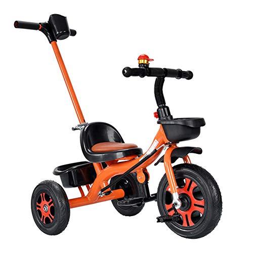 WM&LJP 2 in 1 Kinder Dreiräder Mit Fahrradklingel, Höhenverstellbare Handschubstange Für 1-6 Jahre Alte Jungen Mädchen,B