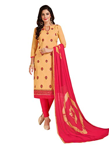 9ec4865c7c Shree Ganesh Retail Womens Lone Cotton With Embroidery Churidar Material |  Salwar Suit | Salwar Kameez Unstitched Dress Material (BEIGE & RED 1008)