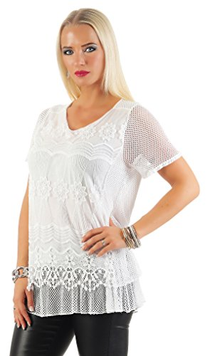IKONA21 - Fashion Italy Damen Shirt Bluse Tunika Longshirt Onesize S M L 36 38 40 42 500 547 Weiß