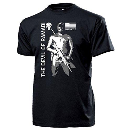 The Devil of Ramadi CPO Chris Kyle American Sniper Scharfschütze Navy Seal Team 3 US Irakkrieg Seals USA Amerika Army Schädel Logo - T Shirt Herren XXL #15938 - Logo Schwarz Army Navy T-shirt