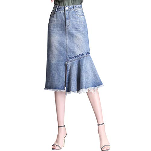 QJKai Jeansrock Midi-Rock für Damen Jeanshirt mit hoher Taille und schmaler Passform Vintage Fransen-Split-Rock-Mode Naht asymmetrischer Rock für den Sommer -