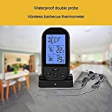 Wireless Digital BBQ Thermometer Kitchen Outdoor BBQ Temperature Gauge Upgraded Digital Double Probe BBQ Grill Thermometer Color Black