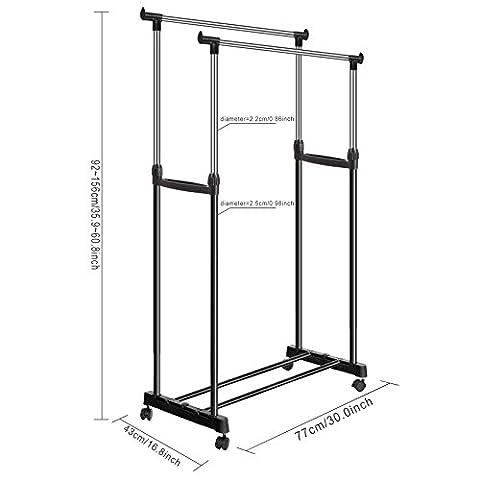 Adjustable Double Rod Stainless Steel Clothes Rack Foldable Anti-Slip Rolling Hanging Garment Racks with Bottom Shelf UK