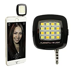 ENRG Selfie Flash Light Black :: 3.5mm pin jack 16 LED cubes flashlight with Three levels of brightness to click Phone selfies.Compatible with all phones.Can be used as a Flash torch.