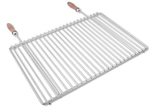 Edelstahl Grillrost mit verstellbarer Breite 55-65X37cm aus Europäischem Edelstahl mit Holzgriffen, Verstellbarer Grillrost, Grillrost Ausziehbar