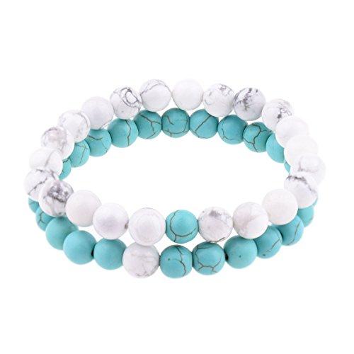 Belons Damen Herren Unisex 8mm Beads Armband Energiestein Stretcharmband Partnerarmbänder Set Armketten, 2 Stücke(Weiß, Blau) (Stück Stretch-zwei Anzug)
