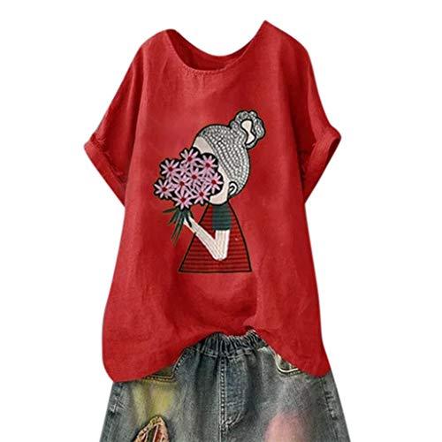 Darringls Magliette Donna Manica Corta Estive Camicia Elegante Tops Tumblr T-Shirt Casual T Shirt Donna Camicia Lino Camicette Donna Estive Cotone Blouse Casuali Chiffon con Scollo V Tops