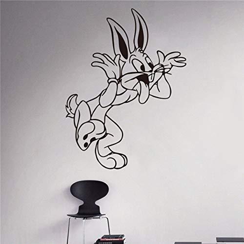guijiumai Bugs Bunny Wandtattoo Looney Tunes Cartoon Vinyl Aufkleber Kinderzimmer Dekoration Kinderzimmer Wandaufkleber weiß 58 x 44 cm