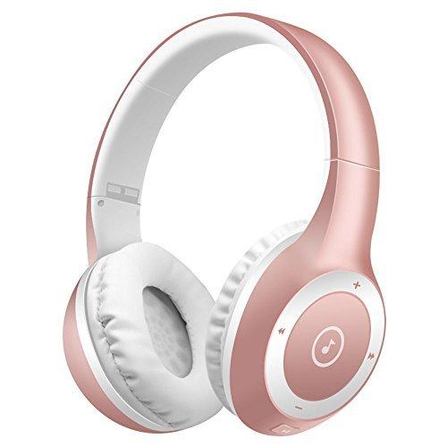 Drahtlose Bluetooth Headsets, Bodecin Haut Freundlich Leder 3D Over-Ear Stereo Klang Sport Bluetooth 4.1 Kopfhörer für iPhone/iPad/Android Bauen in Mic Unterstützung TF Karte(Rose Gold)