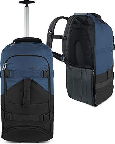 normani Backpacker Reisetaschen-Rucksack mit Trolleyfunktion - Trolley mit Frontloader Funktion und vielen Taschen 60 Liter Farbe Schwarz/Navy