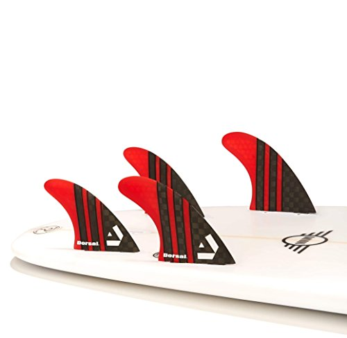 DORSAL® Carbon Hexcore Quad Surfboard Fins (4) Honeycomb FCS Base Red