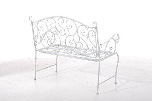 CLP Metall Gartenbank TUAN, 2-er Sitz-Bank Garten, Eisen lackiert, Design nostalgisch antik, 105 x 50 cm Antik Weiß - 3