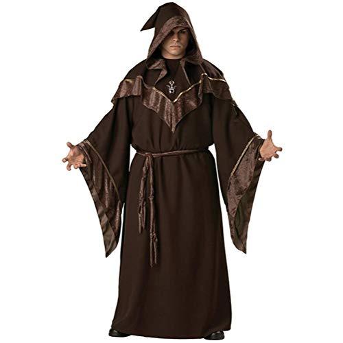 Dunkle Mönch Kostüm - Herren Zauberer Priester Outfit Dunkler Zauberer Robe Mönch Robe Religiöser Pate Zauberer Kostüm Halloween Teufel Hexe Cosplay