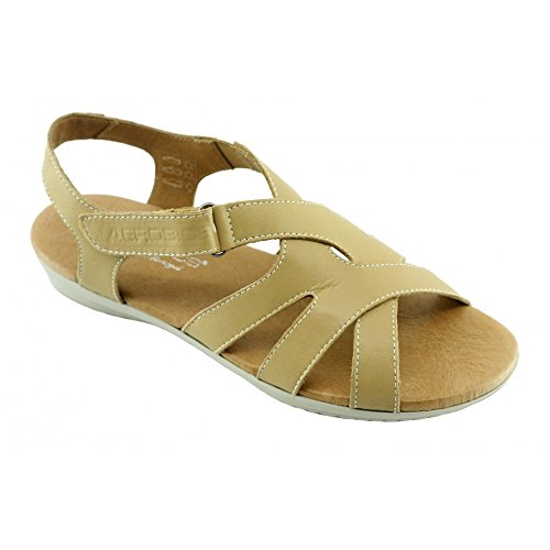 Soldes - Siracusa - Sandales Beige Confortable Nu-pied scratch - Aerobics C-Beige