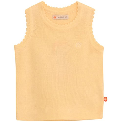Mini Klub Girl's Solid Sleeveless Sweater (White_6-9 Months)