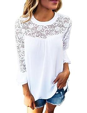 Lenfesh Mujer Tops Ocasional Camiseta blanca de cuello redondo Blusas casual elegant Camisa Verano Playa