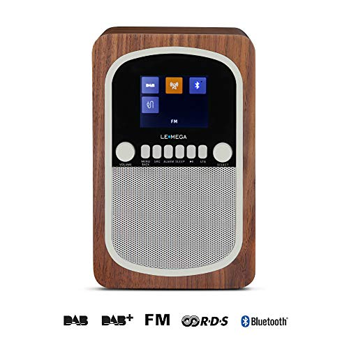 LEMEGA M1 Tragbares Digitalradio Wiederaufladbare Batterie und Kabelloser Lautsprecher Mit DAB, DAB+, UKW-Radio, Bluetooth, Uhr und Alarm - Nussbaum