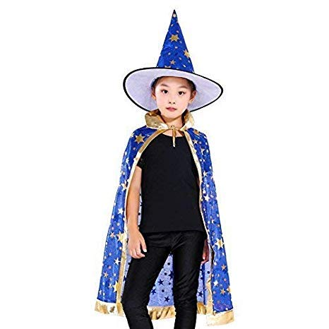 Anzmtosn Disfraces de Halloween Mago de Bruja Capa con Sombrero Capa de Mago y Sombrero Disfraz de niño para niños Disfraz de Cosplay para Fiesta Niños pequeños Niños Niños / Niñas (Azul)