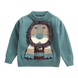 MEIbax otoño Invierno Dibujos Animados león niño niño bebé Sudadera niño suéter de Punto suéter Cuello Redondo Manga… 5