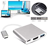 Cyond USB C Digital AV Multiport Adapter, USB 3.1 Typ-C zu HDMI Adapter 4K, USB 3.0 Hub mit 1 Ladeport für Apple MacBook Chromebook Pixel, mit Aluminiumgehäuse