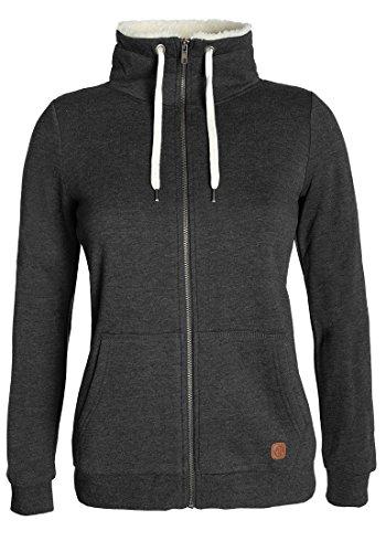 DESIRES Derby Pile Zip Damen Sweatjacke Kapuzen-Jacke Zip-Hood Stehkragen aus hochwertiger Baumwollmischung mit Teddy-Innenfutter, Größe:L, Farbe:Dark Grey Melange (8288) (China-kragen Tasche)