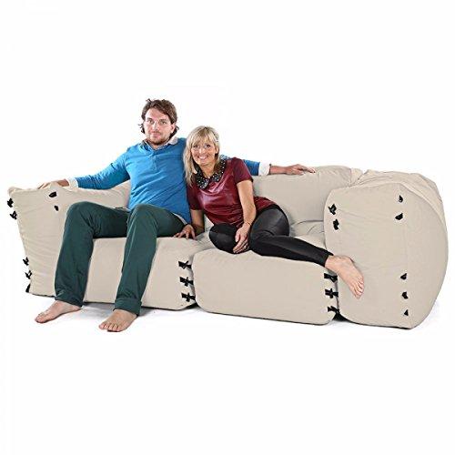Sacchi di fagioli divano ad angolo modulari - 4pc 2 posti set-pietra