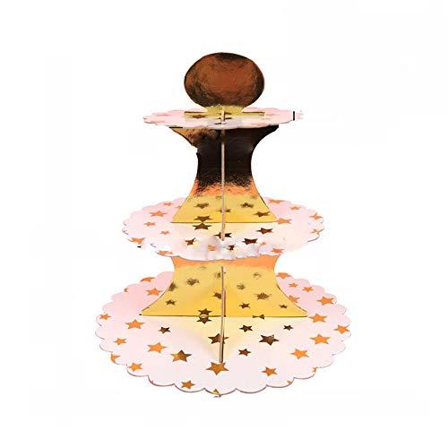 Lebensmittel Display Cupcake Stand 3-Pack Karton Cupcake Stand Dessert Turm 3 Tier Papier Kuchen Stand für Hochzeit/Geburtstag/Baby Shower/Quinceanera/Party-Dekorationen Supplies für Geburtsta