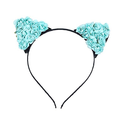 Katze Kostüm Coole (Blue Vessel Florale Katze Ohren Haarreif Party Kostüm Kopf Haarband Haarschmuck)
