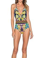 QHGstore Flor impreso mujer traje de baño bikini espalda ahueca hacia fuera diseño bañador XL