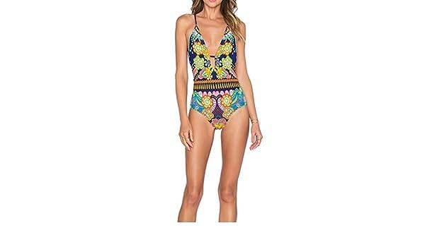QHGstore Fiore Stampato Costume da Bagno Donna Bikini Retro Fronte Hollow out Design Costume da Bagno
