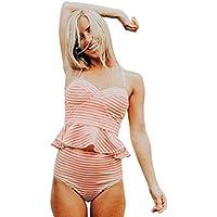 SHOBDW Mujer sexy traje de baño push-up sujetador acolchado rayas impresos traje de baño de volantes