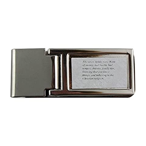 Metal money clip with The seven deadly sins: Want of money, bad health, bad temper, chastity, family ties, knowing that you know things, and believing in the Christian religion.