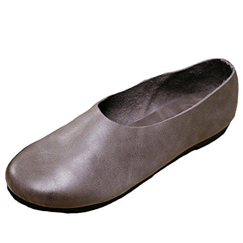 MatchLife Damen Vintage Casual Leder Flach Pumpe Schuhe Style3-Grau