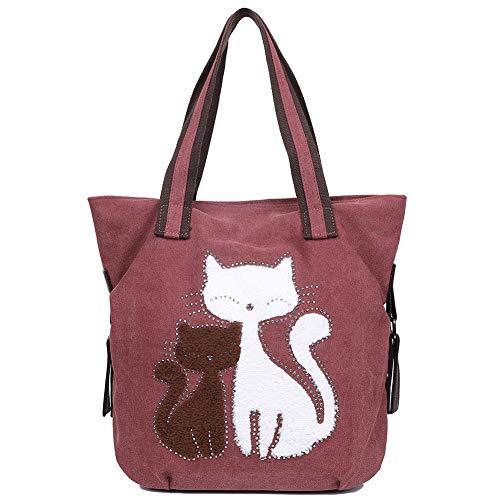 EGOGO Damen Schultertasche Canvas Henkeltasche Tasche Niedliche Katzen Shopper Tasche Handtasche E523-4 (Dunkles Rot) - Cute Canvas Taschen