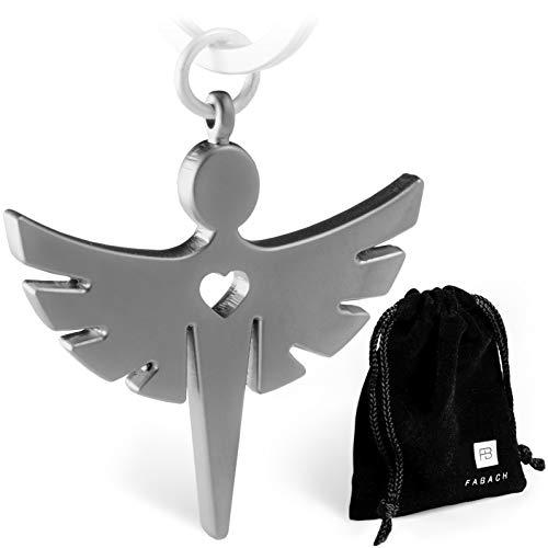 Schutzengel Schlüsselanhänger mit Herz - Edler Engel Anhänger aus Metall in mattem Silber - Glücksbringer Geschenk für Auto, Führerschein - FABACHTM -
