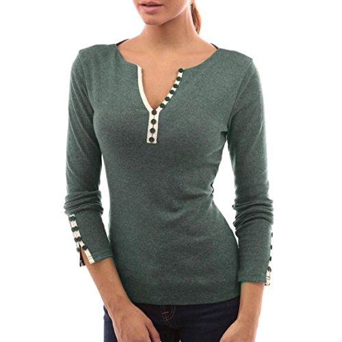Sunnywill Damen Blusen Pullover Streetwear Casual Knopf V-Ausschnitt T-Shirt Langarm Tops Bluse (Green, M) (Kordelzug V-ausschnitt T-shirt)