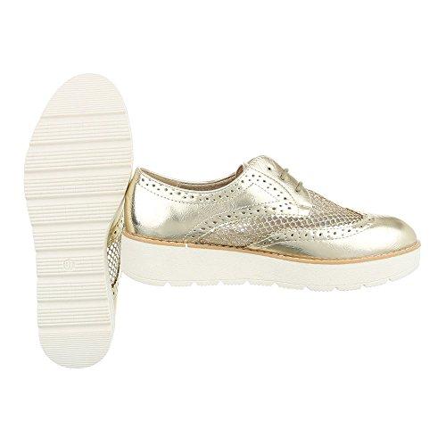 Schnürer Damenschuhe Oxford Schnürer Schnürsenkel Ital-Design Halbschuhe Gold 62015