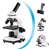Monokular Mikroskop für Kinder Studenten, 200x – 2000x Vergrößerung, stark, biologisch, bildungstechnisches Mikroskop mit Handyadapter, Fernauslöser, Tragetasche, Zubehör und Objektträger