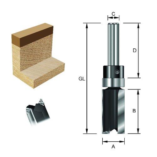 Preisvergleich Produktbild ENT Bündigfräser HW (HM), Schaft (C) 8 mm, Durchmesser (A) 22 mm, B 25 mm, D 32 mm, GL 64 mm, mit Kugellager am Schaft