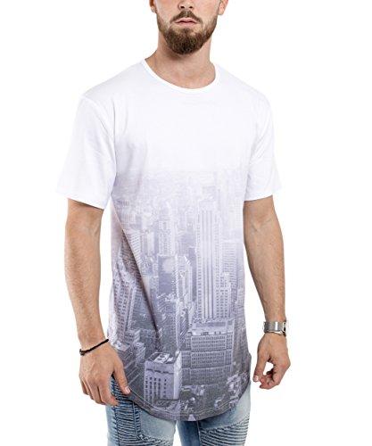 Phoenix Allstar Oversize T-Shirt Herren Longshirt mit 09 Print Longline Tee Langes Stylisches Shirt - S M L XL City Light Oversize