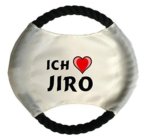 Personalisierter Hundefrisbee mit Aufschrift Ich liebe Jiro (Vorname/Zuname/Spitzname)