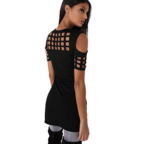 Manadlian - T-shirts Femmes Tops Blouse sans Bretelles Évider Manches Courtes T-Shirt Décontracté Noir