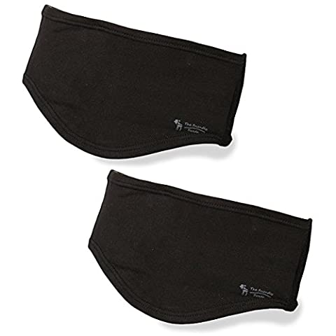 The Friendly Swede Ear Warmer for Running and Winter Sports (Pack of 2 Headbands) (Black+Black)
